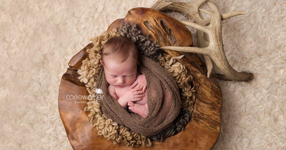 newborn baby boy with antlers