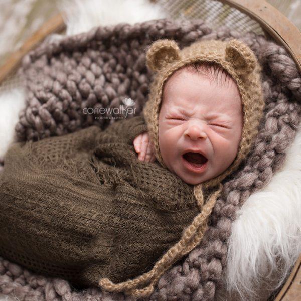 newborn baby boy yawning in stow ohio