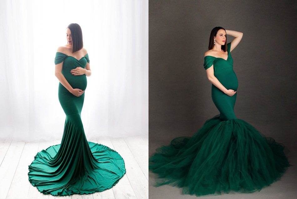 Athena green maternity gown