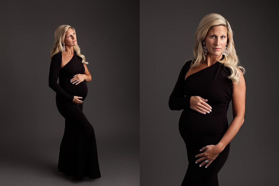 black one sleeve maternity gown